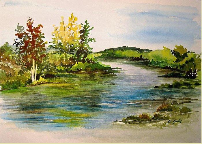 Grand Beach Manitoba Lagoon Greeting Card featuring the painting Plein Air At Grand Beach Lagoon by Joanne Smoley