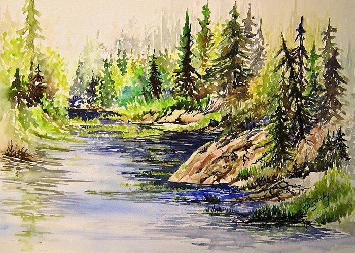 Nutimik Lake Manitoba Landscape Greeting Card featuring the painting Plein Air At Nutimik Lake In Manitoba by Joanne Smoley