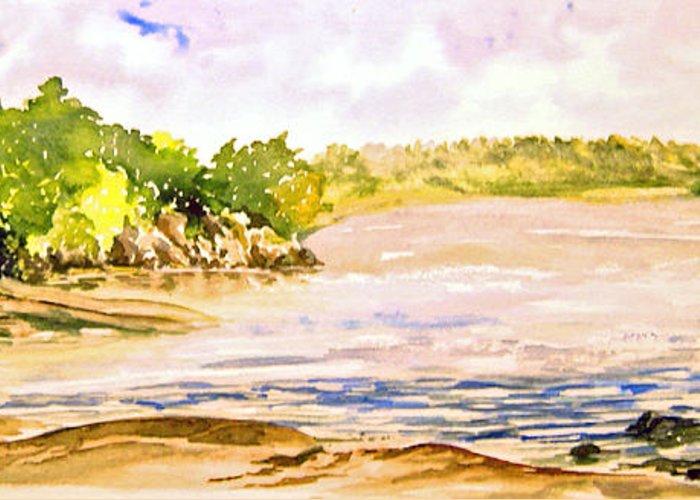 Pine Falls Manitoba Greeting Card featuring the painting Plein Air At Pine Falls Manitoba by Joanne Smoley