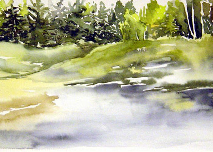 Nutimik Lake Whiteshell Manitoba Greeting Card featuring the painting Plein Air At The Pond At Nutimik by Joanne Smoley