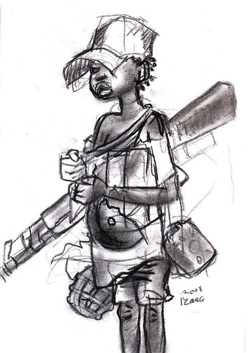 Greeting Card featuring the drawing Plight Of A Child Soldier by Okwir Isaac