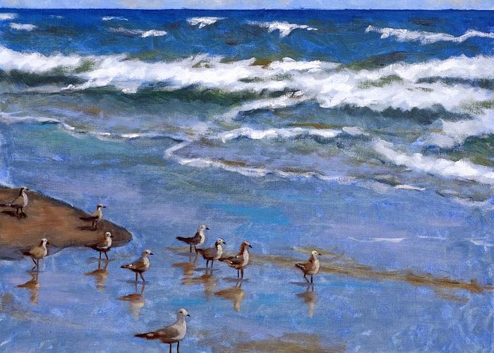 Plover Greeting Card featuring the painting Plover Dance by Brenda Williams