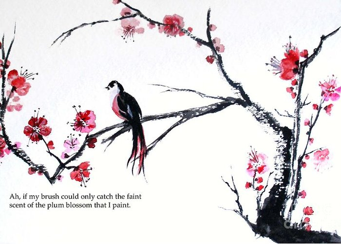 Greeting Card featuring the painting Plum Blossom Bird  by Sibby S