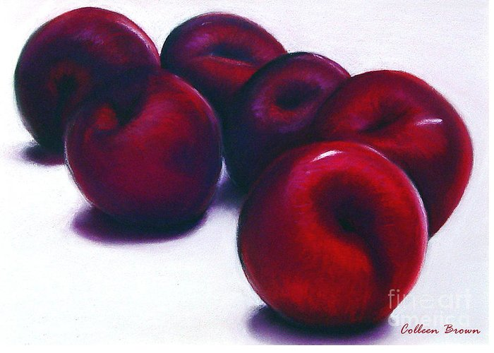 Still Life Greeting Card featuring the painting Plum Crazy by Colleen Brown