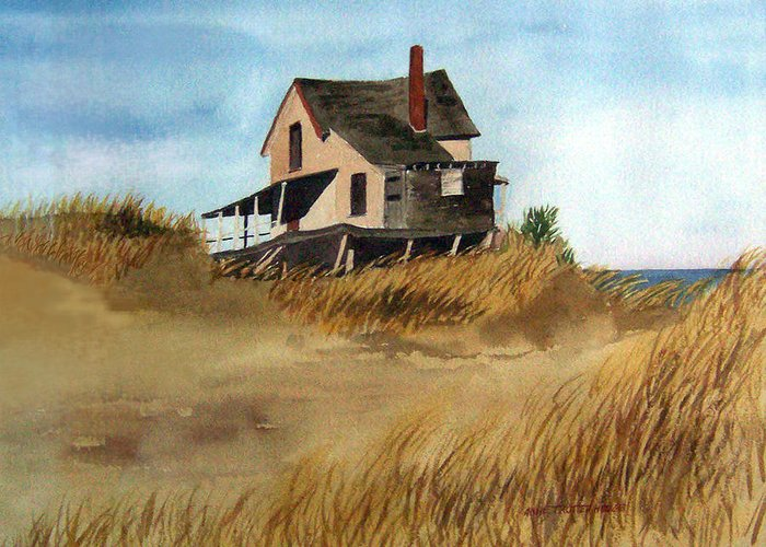 Landscape Greeting Card featuring the print Plum Island Shack by Anne Trotter Hodge