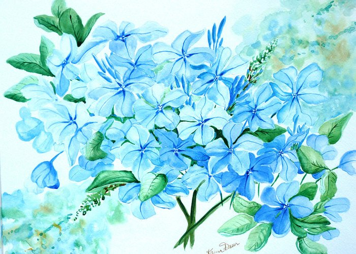 Floral Blue Painting Plumbago Painting Flower Painting Botanical Painting Bloom Blue Painting Greeting Card featuring the painting Plumbago by Karin Dawn Kelshall- Best