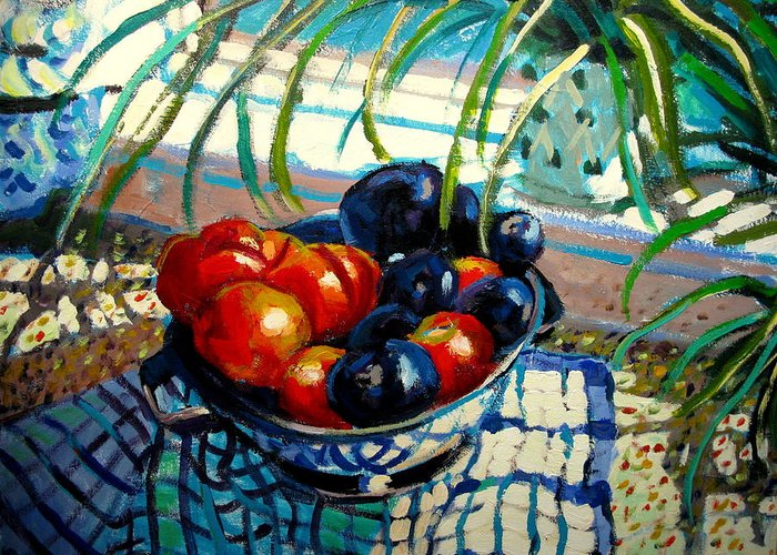 Still Life Paintings Greeting Card featuring the painting Plumbs And Nectarines by Brian Simons