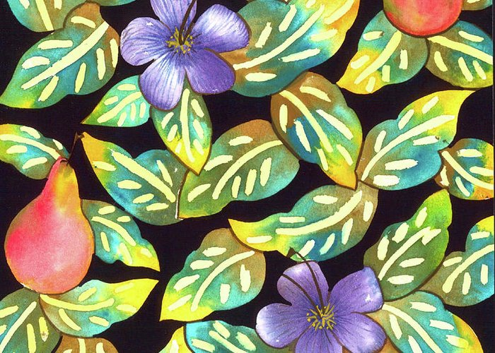 Hawaiian Greeting Card featuring the painting Plumeria Pears by Leslie Marcus