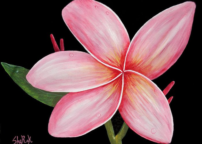 Floral Greeting Card featuring the painting Plumeria by SheRok Williams