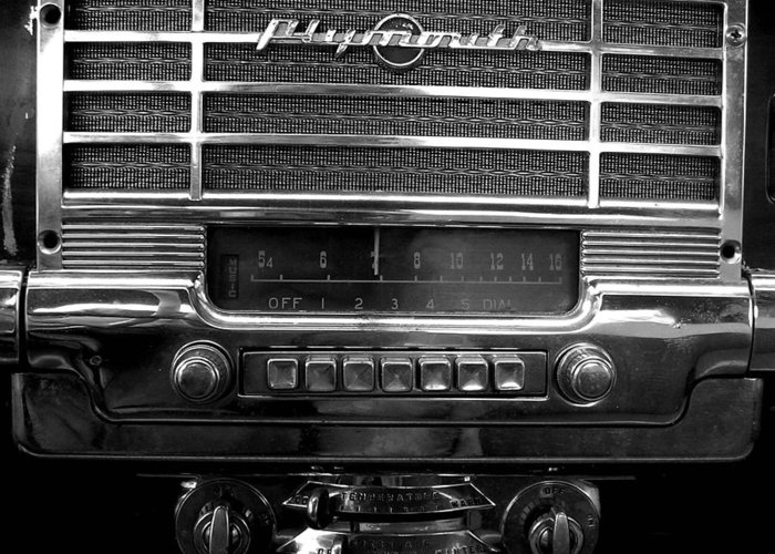 Car Greeting Card featuring the photograph Plymouth Radio by Audrey Venute
