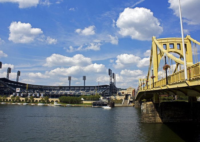 Pittsburgh Greeting Card featuring the photograph Pnc Park And Roberto Clemente Bridge Pittsburgh Pa by Kristen Vota