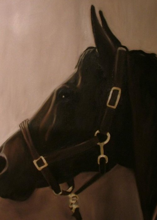 Horse Greeting Card featuring the painting Pocketchange by Donna Thomas