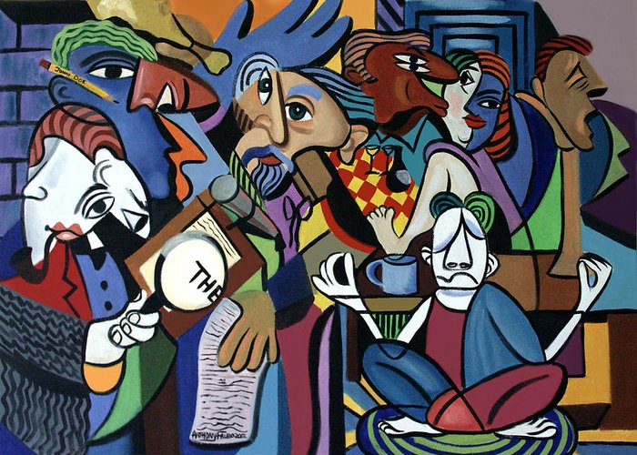 Poets Unleashed Men Talking Reading Yoga Coffee Chicken The Cubism Cubestraction Bench Impressionist Expressionism Large Giclee Canvas Print Poster Original Oil Painting On Canvas Anthony Falbo Falboart   Greeting Card featuring the painting Poets Unleashed by Anthony Falbo