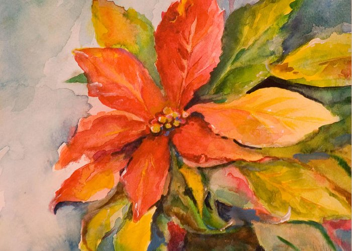 Flower Greeting Card featuring the painting Poinsettia by Delilah Smith