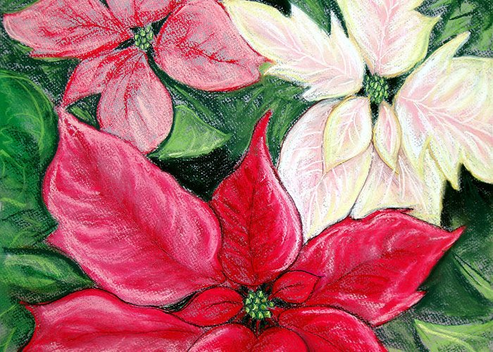 Poinsettia Greeting Card featuring the pastel Poinsettia Pastel by Nancy Mueller