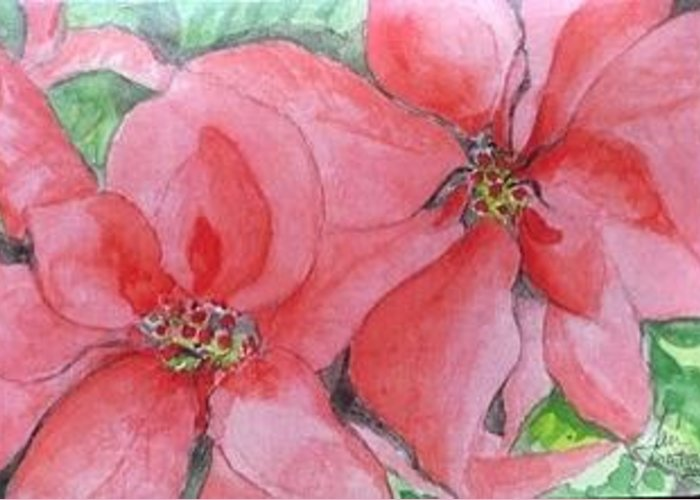 Christmas Cards Greeting Card featuring the painting Poinsettias by Jan Watford