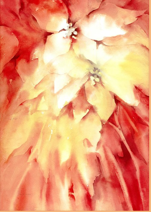 Poinsettias Greeting Card featuring the painting Poinsettias by Joan Jones