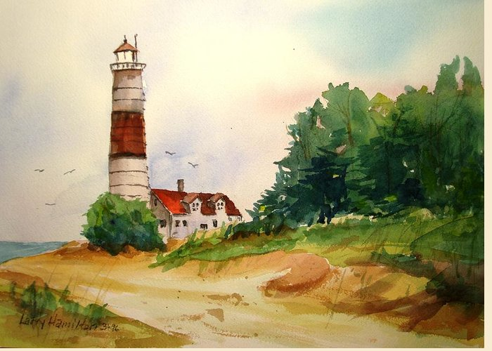 Watercolor Greeting Card featuring the painting Point Betsie Lighthouse Michigan by Larry Hamilton