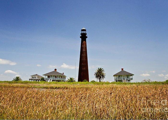 Point Bolivar Lighthouse Greeting Card featuring the photograph Point Bolivar Lighthouse by Scott Pellegrin