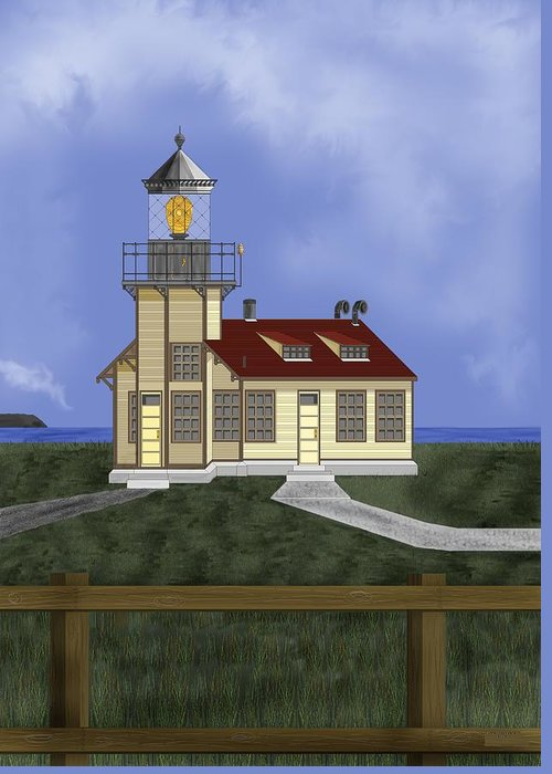 Lighthouse Greeting Card featuring the painting Point Cabrillo California by Anne Norskog