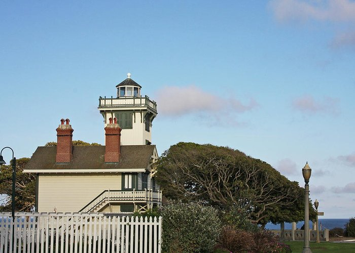 Point Fermin Lighthouse Greeting Card featuring the photograph Point Fermin Light - An Elegant Victorian Style Lighthouse In Ca by Christine Till