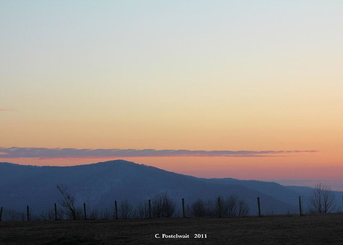 Grass Greeting Card featuring the photograph Point Mountain Sun Set by Carolyn Postelwait