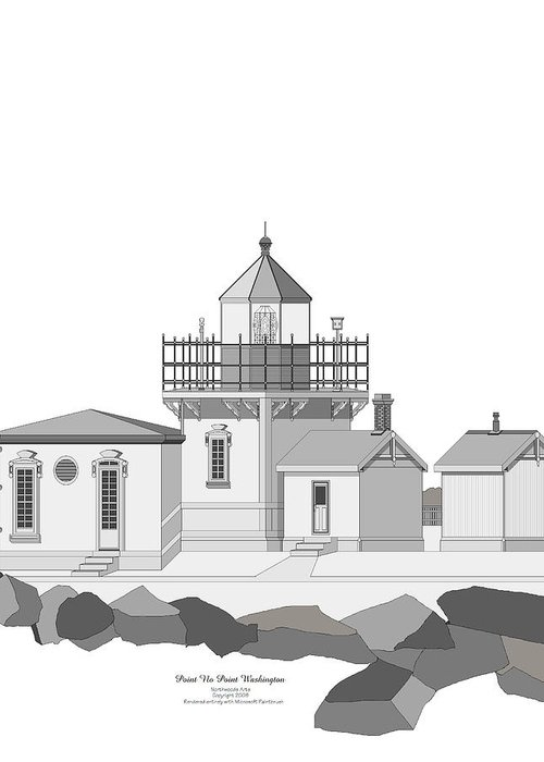 Lighthouse Greeting Card featuring the painting Point No Point As Architectural Drawing by Anne Norskog