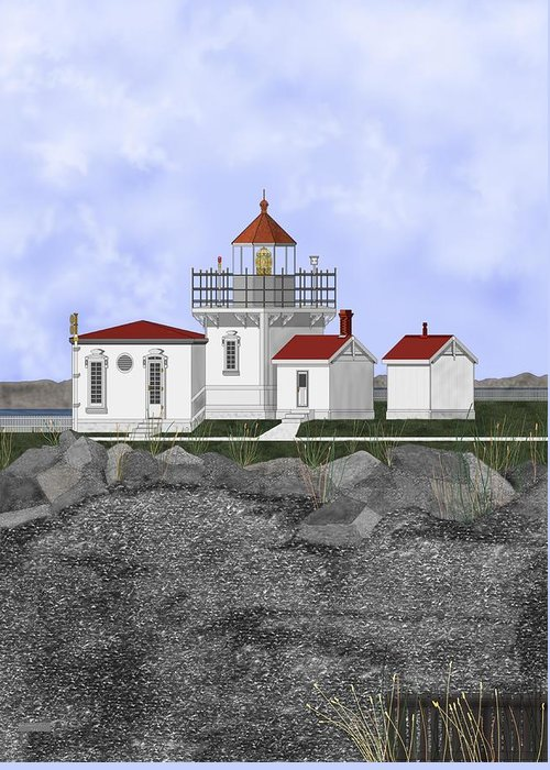 Lighthouse Greeting Card featuring the painting Point No Point Lighthouse by Anne Norskog