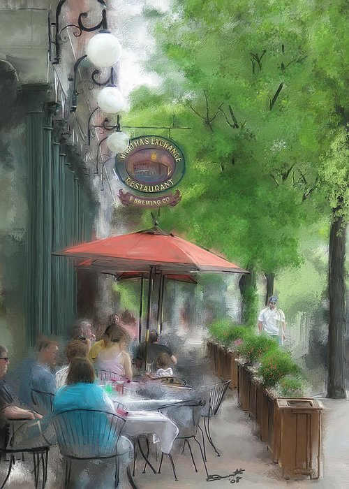 Summer Tea Painting Street Oil Envy Chairs Cafe Sunday Umbrella Greeting Card featuring the painting Point Of View by Eddie Durrett