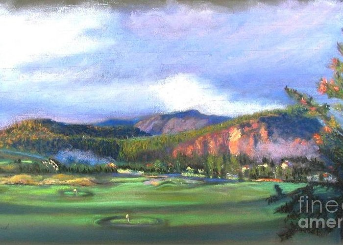 Landscape Greeting Card featuring the painting Point Of View by Shirley Leswick