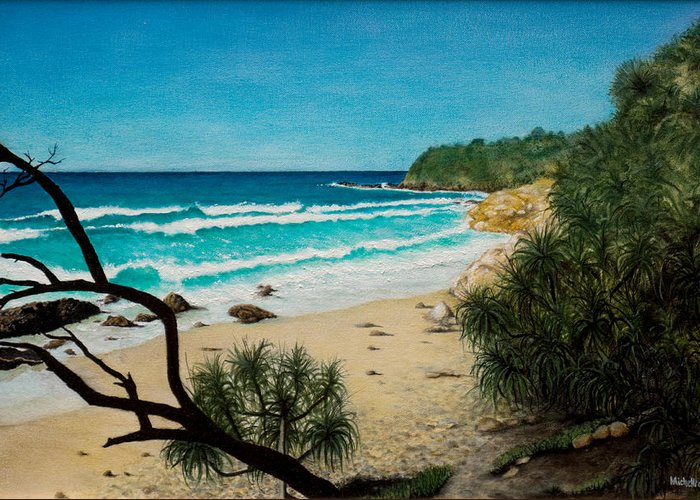 Seascape; Point Perry Greeting Card featuring the painting Point Perry Coolum Beach by Joe Michelli