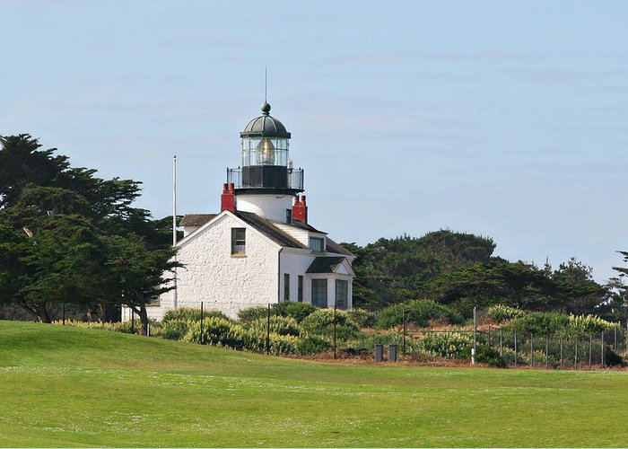 Point Pinos Lighthouse Greeting Card featuring the photograph Point Pinos Light - Lighthouse On The Golf Course - Pacific Grove Monterey Central Ca by Christine Till