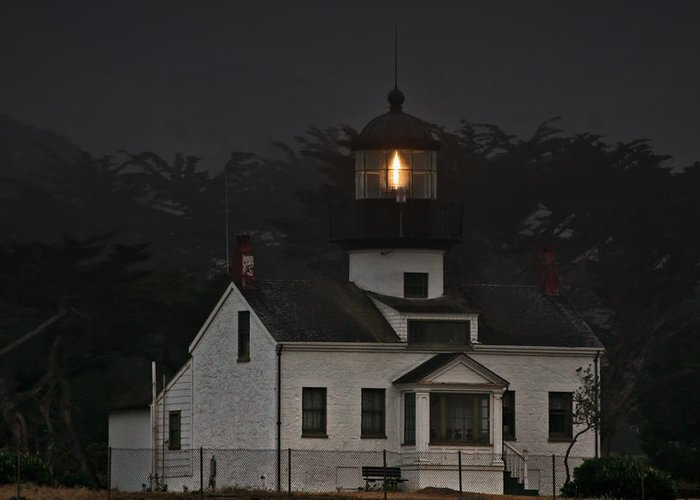 Point Pinos Lighthouse Greeting Card featuring the photograph Point Pinos Lighthouse Ca by Christine Till