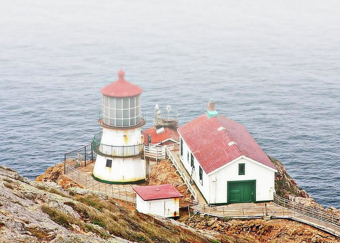 Point Reyes Lighthouse Greeting Card featuring the photograph Point Reyes Lighthouse At Point Reyes National Seashore Ca by Christine Till