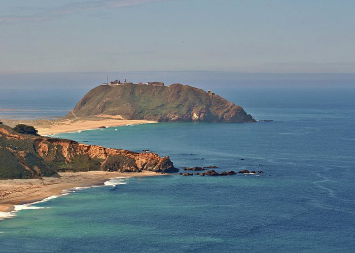Point Sur Lighthouse Greeting Card featuring the photograph Point Sur Lighthouse On Central California's Coast - Big Sur California by Christine Till