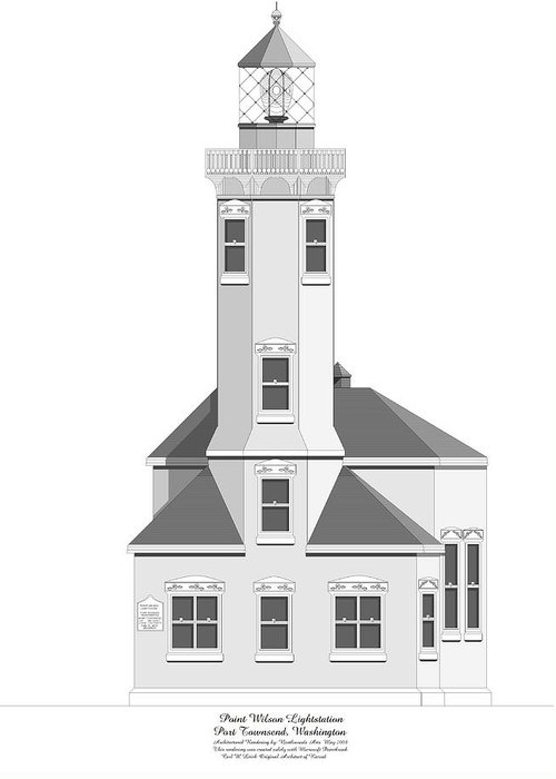 Lighthouse Greeting Card featuring the painting Point Wilson Architectural Drawing by Anne Norskog
