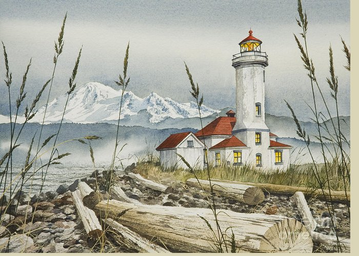 Lighthouse Fine Art Print Greeting Card featuring the painting Point Wilson Lighthouse by James Williamson