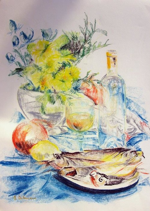 Still Life Greeting Card featuring the drawing Poissons by Muriel Dolemieux