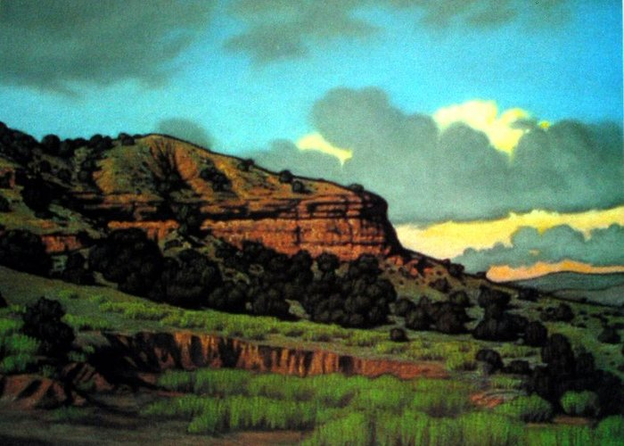 Landscape Greeting Card featuring the painting Pojoaque by Kevin Lawrence Leveque