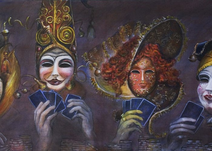 Masks Greeting Card featuring the painting Poker Face by Nik Helbig