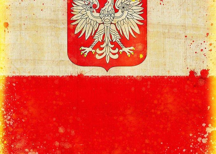 Duty Greeting Card featuring the painting Poland Flag by Setsiri Silapasuwanchai