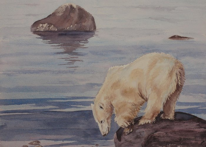 Polar Bear Greeting Card featuring the painting Polar Bear Fishing by Debbie Homewood