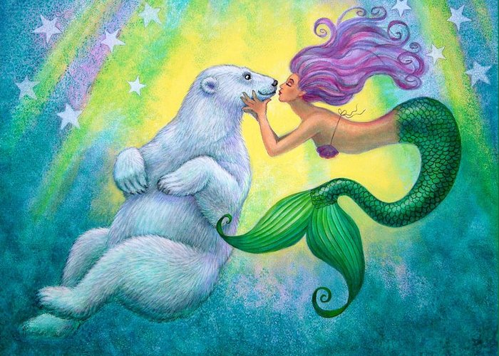 Mermaids Greeting Card featuring the painting Polar Bear Kiss by Sue Halstenberg