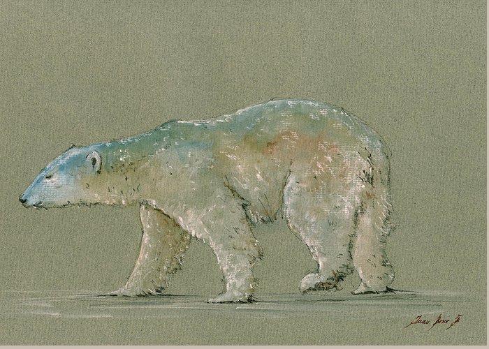 Polar Bear Greeting Card featuring the painting Polar bear original watercolor painting art by Juan Bosco