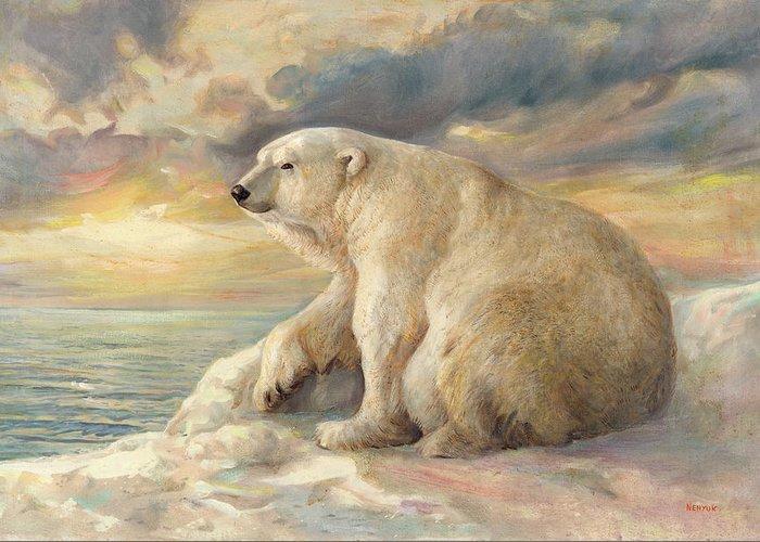Polar Bear Greeting Card featuring the painting Polar Bear Rests On The Ice - Arctic Alaska by Svitozar Nenyuk