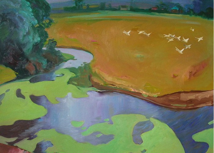 Landscape Greeting Card featuring the painting Polesia by Sergey Ignatenko