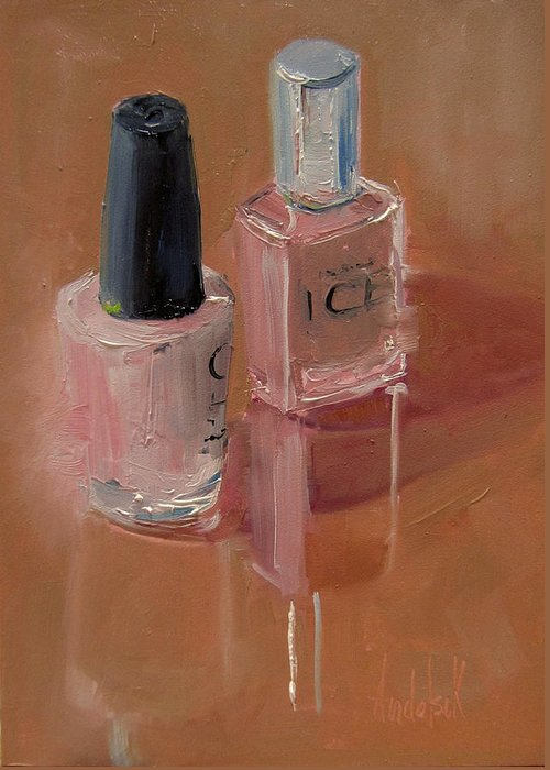 Still Life Greeting Card featuring the painting Polished Duo by Barbara Andolsek