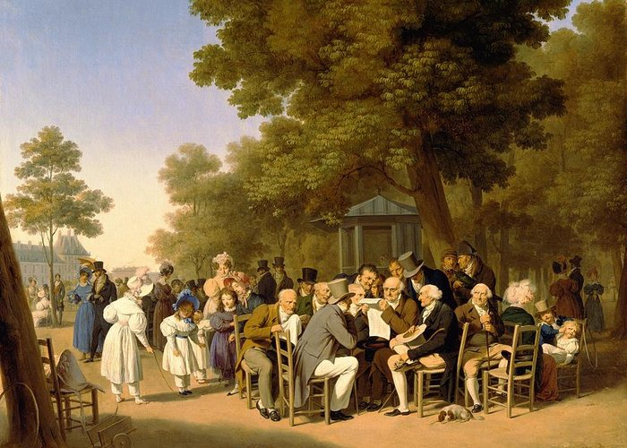 Politicians Greeting Card featuring the painting Politicians In The Tuileries Gardens by Louis Leopold Boilly