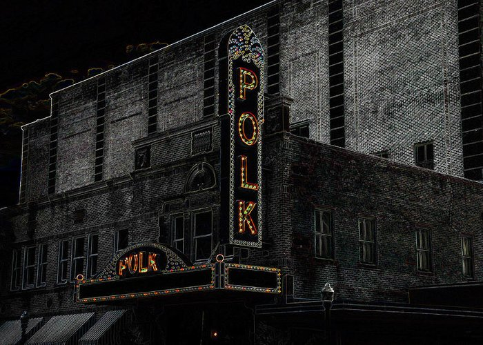 Art Greeting Card featuring the painting Polk Movie House by David Lee Thompson