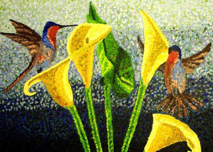 Birds Greeting Card featuring the painting Pollination by Mats Eriksson